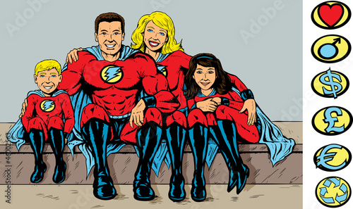 Tuinposter Superheroes Super hero family