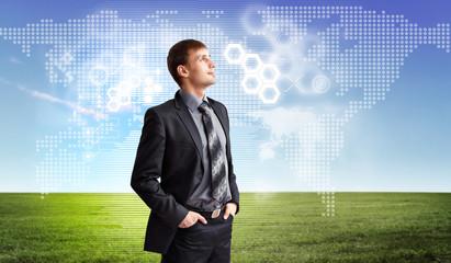 Businessman agaisnt virtual background