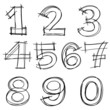 Hand drawn vector number letters.