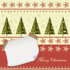 Christmas pattern with blank paper for your greeting