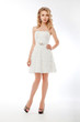 Bride in white couture wedding dress. Romantic model