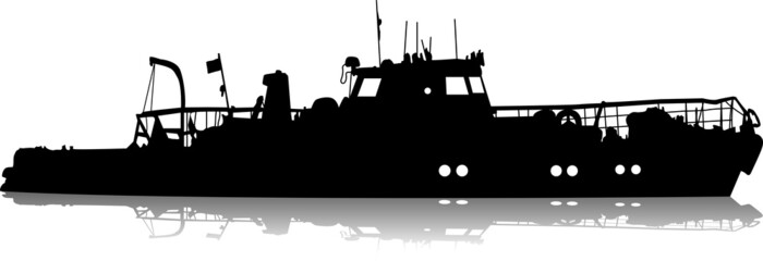Ship silhouette on the sea