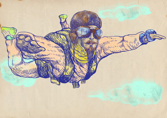 Skydiving, parachutist. Full-sized (original) hand drawing