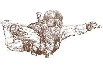 Skydiving, parachutist. Full-sized (original) hand drawing
