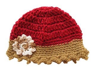 Wool cap for child isolated on white, crochet handmade hat.