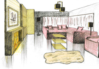Graphical sketch of an interior living room