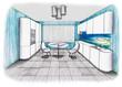 Graphic sketch an kitchen