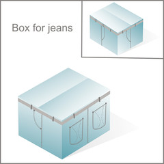 box, cardboard  for jeans or pants packing, with denim lines sty