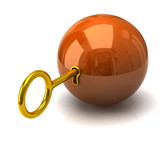 Security concept. Orange sphere and golden key.