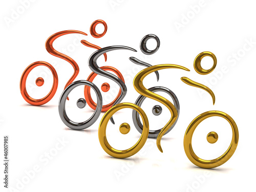 illustration of three cyclist. Gold, silver, bronze.