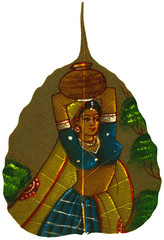 Painting on Peepal Leaf - Young Woman