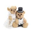 Classic teddy bear groom and his bride