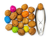 Walnuts with metal nippers poster