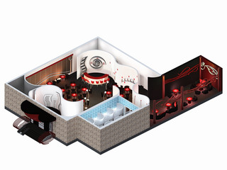 furniture is on architect plan of the restaurant