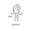 Cartoon man chemist