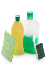 domestic cleaning products isolated