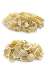 orecchiette and penne pasta isolated