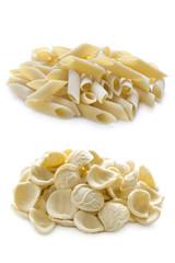 orecchiette and penne pasta isolated