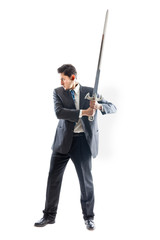 Businessman with long sword