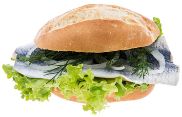 Herring on a bun (white background)