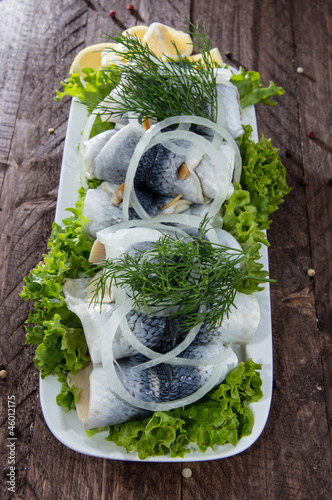 Herring Filets on a plate