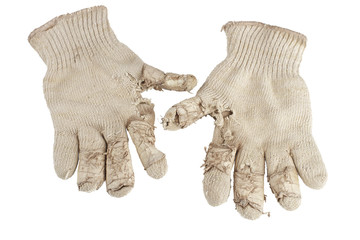 Worn out knit cotton work gloves.