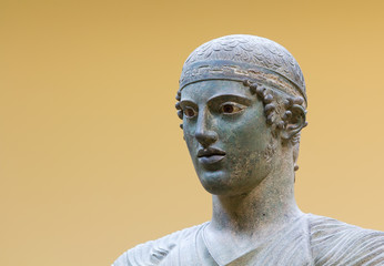 Charioteer of Delphi statue, close up head detail