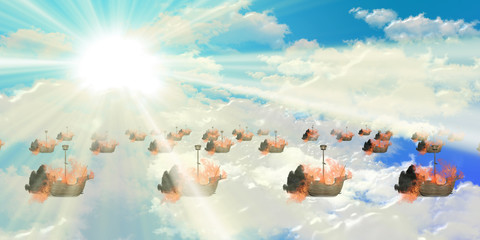 blazing ships floating with blue sky
