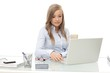 Young businesswoman busy by working at desk