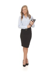 Full size photo of happy businesswoman