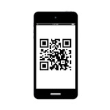 qr code on smart phone isolation vector eps10