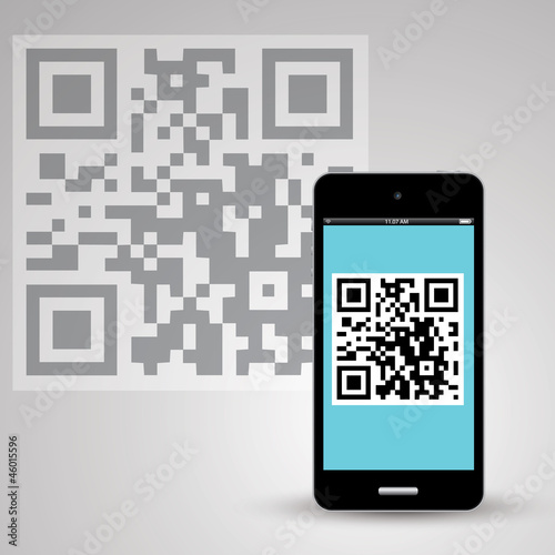 qr code on smartphone with background vector eps10