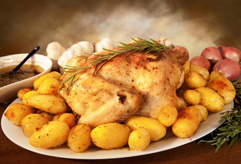 Delicious roast chicken with potatoes