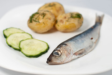 Pickled herring with new potatoes plus chopped cucumbers