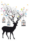 Fototapety Deer with birds and birdcages, vector