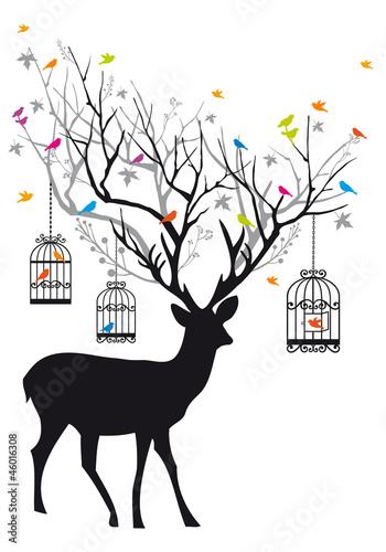 Deer with birds and birdcages, vector