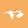 Storch mit Weihnachtsmannmütze