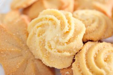 Homemade butter cookies closeup