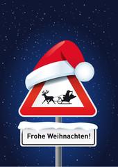 Schild Weihnachtsmann mit Mütze