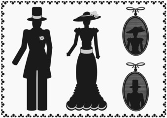 vintage lady and gentleman silhouette