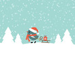 Bird Pulling Sleigh With Gift Retro
