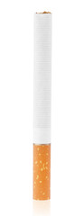 Single cigarette stands vertically isolated on white