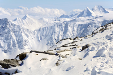 winter mountain landscape of Austrian Alps