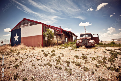 Abandoned restaraunt on route 66 road in USA