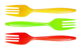 Three plastic colorful forks