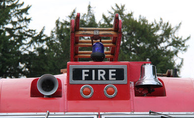 The Top of the Front from a Vintage Red Fire Engine.