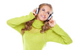 Woman with headphones listen to music