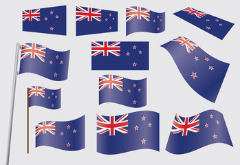 set of flags of New Zealand vector illustration