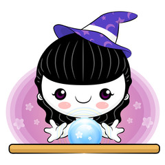 Tarot child witch hitting points, Halloween Character Design