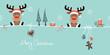 2 Sitting Christmas Reindeers & Symbols Retro